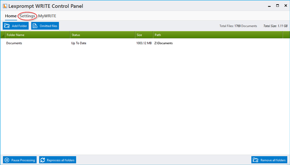 Lexprompt WRITE control panel settings and options